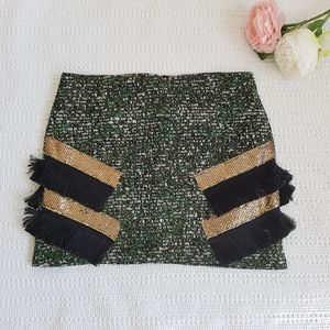 Endless Rose Mini Skirt Tweed with Fringe Detail